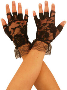 LADIES BLACK FINGERLESS LACE GLOVES HALLOWEEN PARTY ACCESSORY FANCY DRESS WITCH