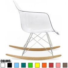 Clear Mid Century Modern Vintage Molded Shell Plastic Rocking Chair