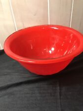 """Bartlett Collins Glass Mixing Bowl 1940s Red 9 3/4"""" Art Deco"""