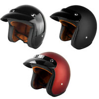 3/4 Open Face - Cafe Racer Style, DOT Approved Motorcycle Helmet With Sun Visor