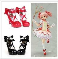 Gothic Women Cosplay High Heels Lolita Cross Strap Shoes Mary Jane Pumps Plus