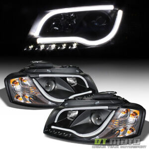 """Black 1998-2001 Audi A6 """"RS5 Style"""" LED DRL Projector Headlights 98-01 Headlamps"""