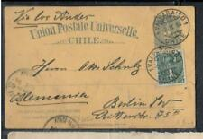 CHILE COVER (P1308B) 1894  COLUMBUS 2C PSC  +1C VALPARAISO TO GERMANY