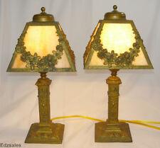 2 Antique Empire Art Nouveau Style Slag Glass Shade Table Lamps