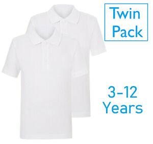 EX Store 2 School Boys Short Sleeve Polo Shirts 100% Cotton Age 3-16YRS