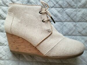 TOMS Ivory Sparkle Canvas Lace-up Wedges -size 9 40