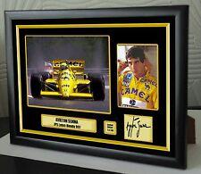 """AYRTON Senna Lotus f1 Campione del Mondo Tela Incorniciato Firmato stampa """"GRANDE REGALO"""""""