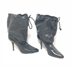 Helmut Lang Vintage Archival Scrunch Top Stiletto Boots Black Leather 35.5 5.5