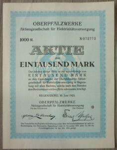 Aktie, Oberpfalzwerke AG für Elektrizitätsversorgung 1923, (Art.3204)