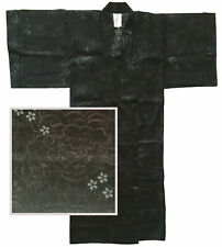"Japanese Kimono Yukata Robe Sash Belt Men 58"" Cotton Black Karajishi Lion Turtle"