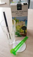 MOJITO COCKTAIL MAKER KIT GIFT SET GLASS MIXER STRAW ICE CRUSHER STIRRER COASTER