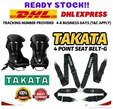 """Takata 4 Point Snap-On 3"""" Black With Camlock Racing Seat Belt Harness Universal"""
