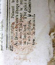 Pre Revolutionary War 1773 Edinburgh SCOTLAND newspaper with a RED TAX STAMP