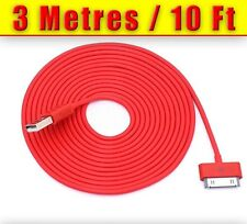 3 METER (10FT)  EXTRA LONG RED I PHONE 4 4S DATA SYNC CHARGER CABLE
