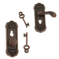 1:12 Scale Door Knob Handle with Key Dollhouse Miniature DIY Accessories