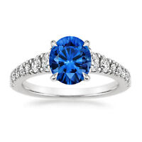 1.43 Ct Round Natural Diamond Blue Sapphire Engagement Ring 14K Solid White Gold