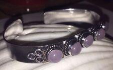 Ethnic Indian Silver Plated Alloy Adjustable Rose Quartz Stone Bracelet Bangle