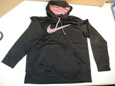 Men's NIKE Therma-Fit Black Red Hoody Sweatshirt Shirt Mens Large