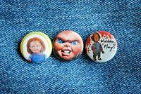 "Childs Play Chucky Movie Buttons Pins Badge 1"" pinback Horror scary Chuckie Doll"