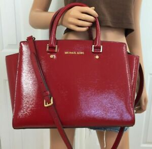 🌞MICHAEL KORS SELMA LARGE RED GLOSSY TEXTURED LEATHER TOP ZIP SATCHEL BAG🌺NWT!