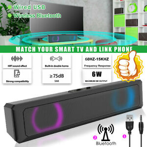 Computer Soundbar RGB LED Stereo 7 Color Wireless / Wired Speaker For PC Laptop
