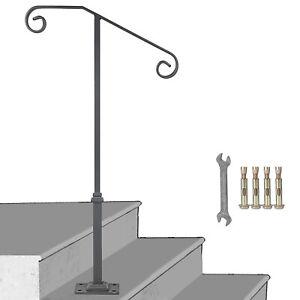 Wrought Iron Handrail Fits 1-2 Steps Steel Grab Rail Single Post Railing w/base