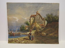 19th century European continental landscape watercolor painting