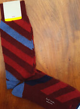 Paul Smith Mens Italian Socks Barber Stripes Wool Alpaca Thick Reds K321 OneSize