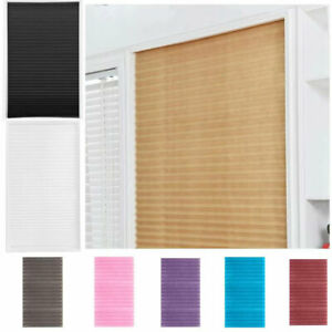 Self Adhesive Pleated Blinds Curtain Half Blackout Home Window Covers Shade