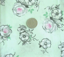 1 Yard of Mint Green with Pink Flowers Cotton Fabric