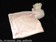 Doudou Ours Calin rose Perle avec son mouchoir carré Kaloo 32 cm