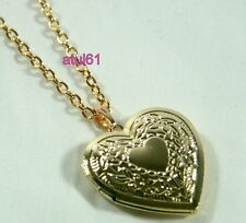 HEART SHAPED LOCKET PENDANT NECKLACE GOLD PLATED VINTAGE ON LONG CHAIN NEW GIFT