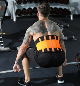 Lumbar Back Support Waist Trainer Belt Elastic Band Breathable Brace Adult Gym