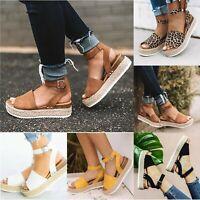 Women Platform Espadrilles Slingback Ankle Strap Beach Sandals Shoes Size 6-10.5