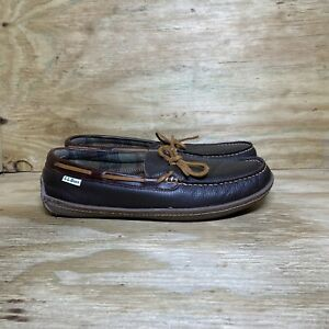 LL Bean Men's Handsewn Slippers Size 10 M Brown 212164 Comfort Loafer Shoes