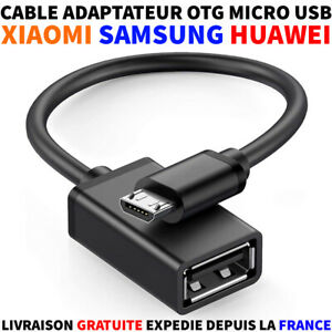 CABLE ADAPTATEUR HOST OTG USB A FEMELLE VERS USB MICRO-B MALE CLE USB SMARTPHONE