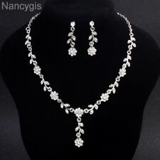 Elegant Crystal Flower Necklace and Earrings Party Bridal Wedding Jewellery Set