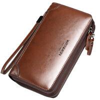 Men Handbag Clutch Bag PU Leather Purse Cell Phone Holder Long Wallet Wrist Bags