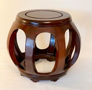 VINTAGE CHINESE ROSEWOOD DRUM WOODEN STOOL WOOD SIDE TABLES  13.5 INS TALL