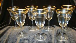 Vintage MCM Wine Glasses  Optic Gold  and Black Trim Art Deco Lot of Seven Rare