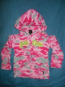 John Deere Girls 4T Pink Camouflage Zip Up Hoodie Coat