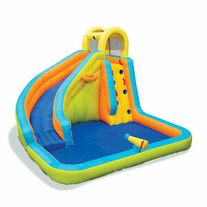 Banzai Splash 'N Blast Kids Outdoor Backyard Inflatable Water Slide Splash Park