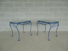 Vintage Woodard Hampton Park Pair Glass Top End Tables Model #1A052903