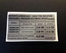 VW Corrado Tyre Pressure Sticker (1.8 16v) 535 010 041 T