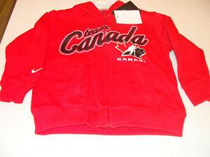 2011-12 Team Canada Age 6 Full Zip My Team Hoodie Hooded Red Sweatshirt Kids