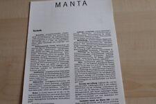 130600) Opel Manta B - technische Daten & Ausstattungen - Prospekt 10/1985
