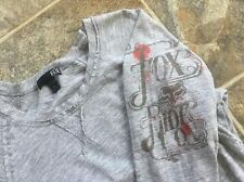 Fox Rider Logo Gray Long Sleeve Dolman Shirt Women's size XS