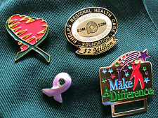 4 healthcare pins, breast cancer pin, small auxiliary green vest,heart Pin