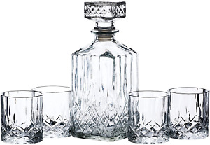 BarCraft Cut-Glass Whisky Decanter and Tumbler Set in Gift Box (5 Pieces), Krist