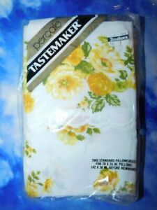 Percale Yellow Floral Pillowcase Set-NOS
